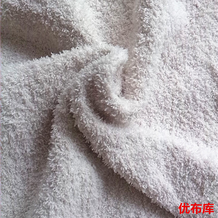 现货供应 毛绒面料欧美日韩家居服睡衣袜子氨纶弹力半边绒面料